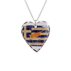 Greek Cyprus Flag Necklace