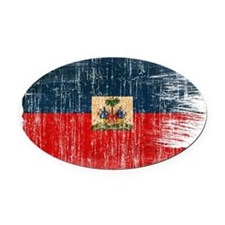 Haiti Flag Oval Car Magnet