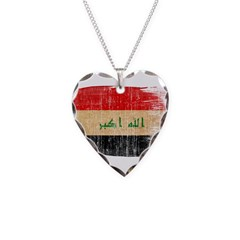 Iraq Flag Necklace Heart Charm