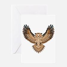 Beadwork Great Horned Owl Greeting Card