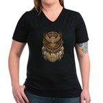 Native American Owl Mandala 1 Women's V-Neck Dark