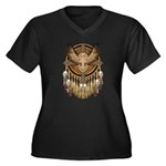Native American Owl Mandala 1 Women's Plus Size V-