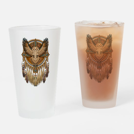 Native American Owl Mandala 1 Drinking Glass