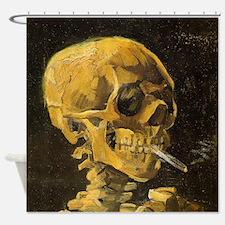 Van Gogh Skull With Burning Cigarette Shower Curta