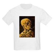 Van Gogh Skull With Burning Cigarette T-Shirt