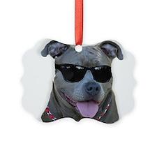 Pitbull in sunglasses Ornament