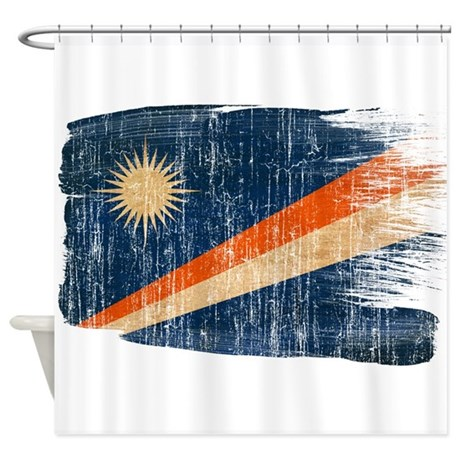 Marshall Islands Flag Shower Curtain By Fadedpaintflags