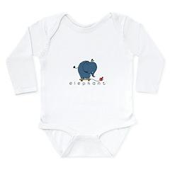 elephant Long Sleeve Infant Bodysuit