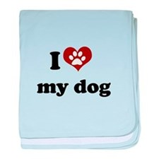 i heart my dog.png baby blanket
