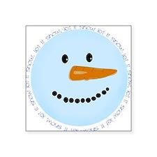 Blue Snowman Square Sticker 3