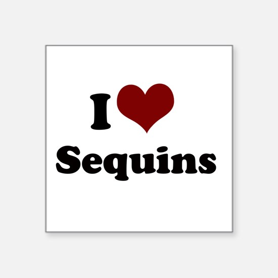 "i heart sequins.png Square Sticker 3"" x 3"""