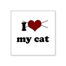 i heart my cat.png Square Sticker 3