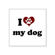 i heart my dog.png Square Sticker 3