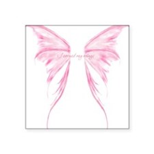 Pink wings Square Sticker 3
