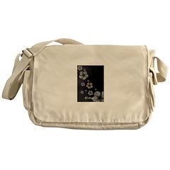 Hibiscus on Black Messenger Bag