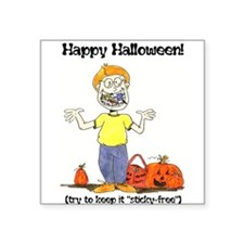 """happy halloween card - ortho.png Square Sticker 3"""""""
