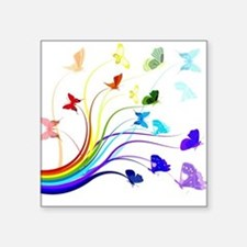 "Butterflies and Rainbows Square Sticker 3"" x 3"""