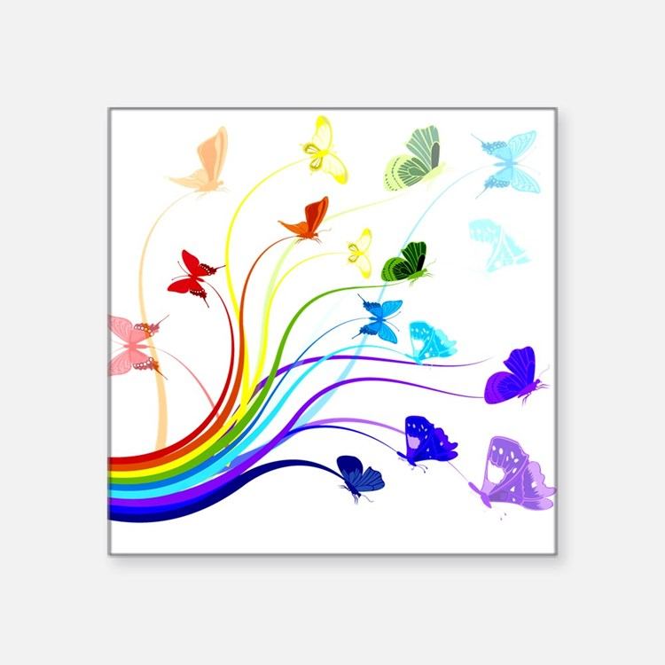 """Butterflies and Rainbows Square Sticker 3"""" x 3"""""""