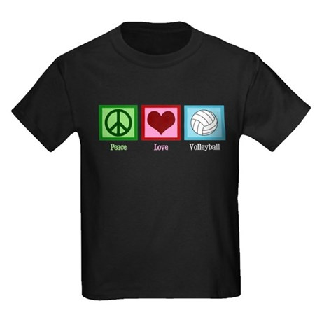 Peace Love Volleyball Kids Dark T-Shirt