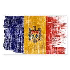 Moldova Flag Sticker (Rectangle 50 pk)