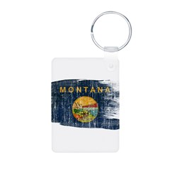 Montana Flag Aluminum Photo Keychain