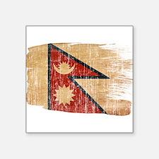 "Nepal Flag Square Sticker 3"" x 3"""