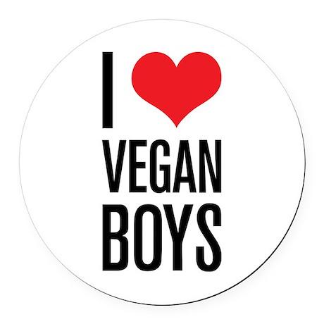 I Love Vegan Boys Round Car Magnet