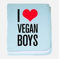 I Love Vegan Boys baby blanket