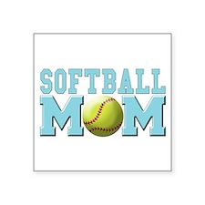 """softball mom(white).png Square Sticker 3"""" x 3"""""""