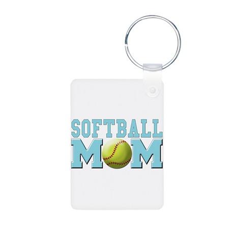 Softball MOM Aluminum Photo Keychain