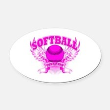 Softball mom Oval Car Magnet