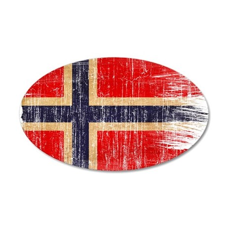 Norway Flag 38.5 x 24.5 Oval Wall Peel