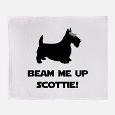 Beam Me Up Scottie Black.png Throw Blanket