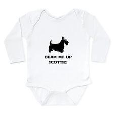 Beam Me Up Scottie Black.png Long Sleeve Infant Bo