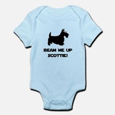 Beam Me Up Scottie Black.png Infant Bodysuit