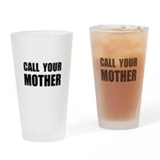 Call Your Mother Black.png Drinking Glass