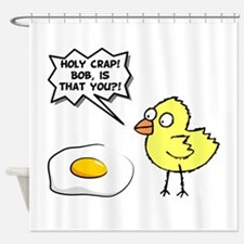 Chick Egg Black.png Shower Curtain