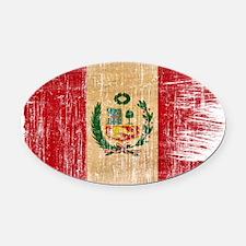 Peru Flag Oval Car Magnet