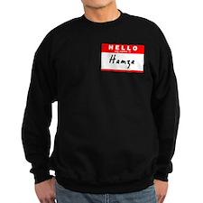 Hamza, Name Tag Sticker Sweatshirt