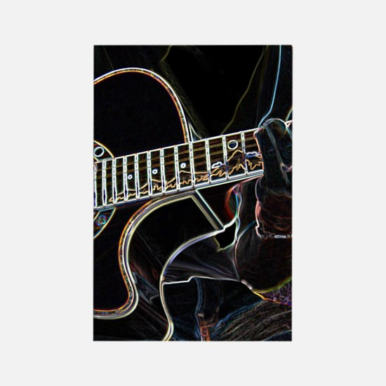 Guitar Player Rectangle Magnet