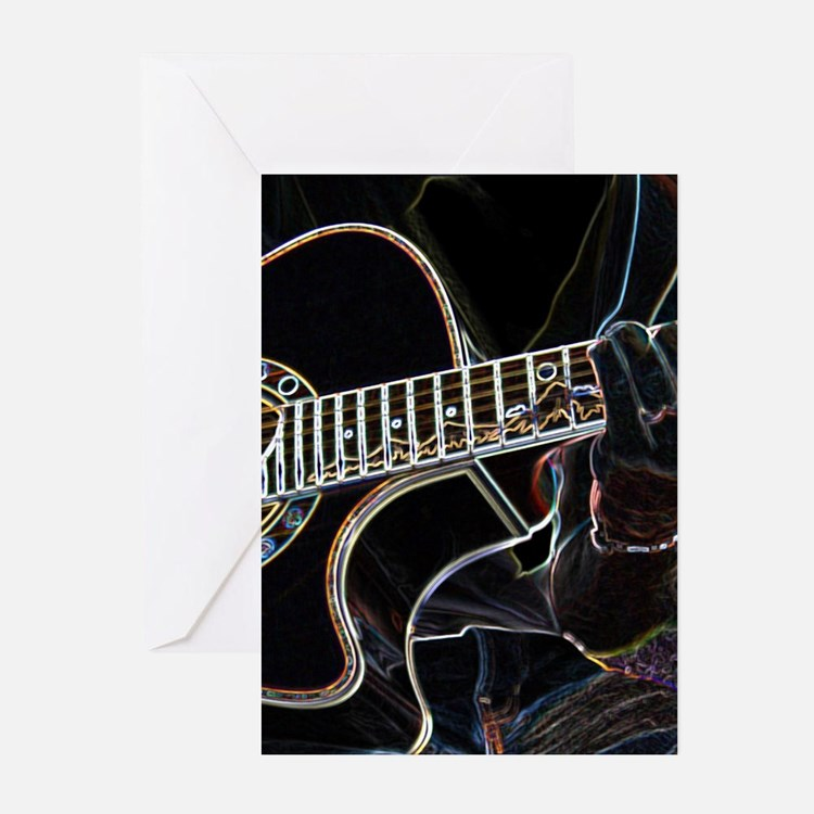 Guitar Player Greeting Cards (Pk of 10)