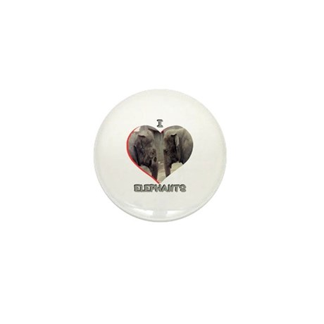 I Love Elephants Mini Button
