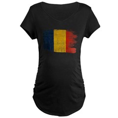 Romania Flag Maternity Dark T-Shirt