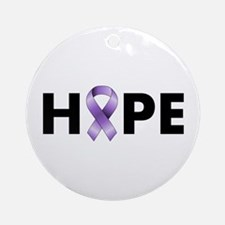 Purple Ribbon Hope Ornament (Round)