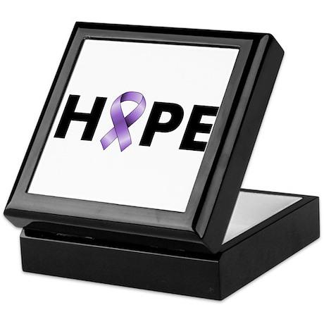 Purple Ribbon Hope Keepsake Box