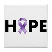 Purple Ribbon Hope Tile Coaster