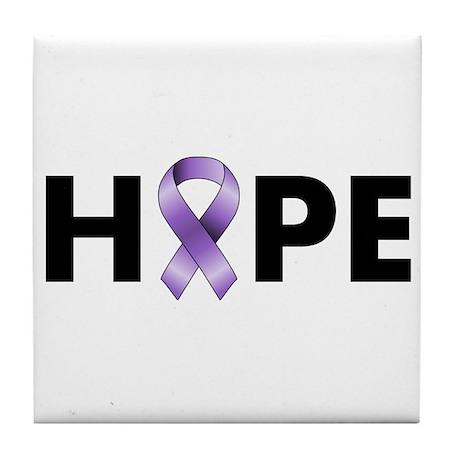 Purple Ribbon Hope Tile Coaster