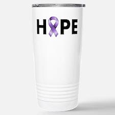 Purple Ribbon Hope Stainless Steel Travel Mug