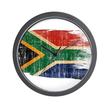 South africa flag wall clock by fadedpaintflags for Modern wall clocks south africa