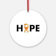 Orange Ribbon Hope Ornament (Round)